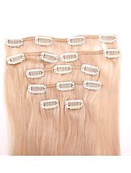15 pulgadas 7pcs / clip de 70g en brasileño extensiiion cabello humano recto sedoso rubio # 24 de la miel