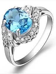 Flammable Volcano 925 Silver Inlaid Natural Topaz Stone Ring SR0017B Female Elegant Fashion
