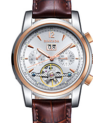 BINKADA Men's Luminous Dial Leather Band Automatic Mechanical Wrist Watch(Assorted Colors)