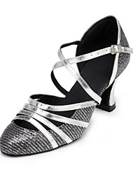 Non Customizable Women's Dance Shoes Salsa Flocking Flared Heel Silver