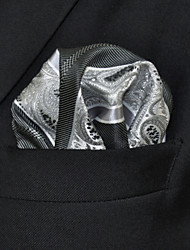 UH29 Shlax&Wing Mens Hanky Paisley Stripes Grey Silver Pocket Square Mens Hankies