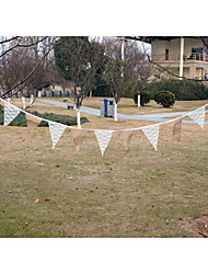 Wedding  Hessian Burlap Rustic Vintage Banner Bunting with Lace