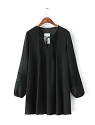 ocasional solta v pescoço laço de união de manga comprida vestido de chiffon preto das mulheres
