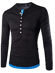 Herren Solide Einfach Lässig/Alltäglich T-shirt,Mit Kapuze Langarm Blau Schwarz Grau Baumwolle
