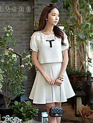 Средняя - Короткий - Блуза - Спандекс/Полиэстер ) - С короткими рукавами