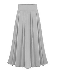 Women's Casual Micro-elastic Thin Maxi Skirts (Nylon/Cotton Blends)