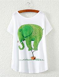 Kortärmad T-shirt Kvinnors Rund hals Bommulsblandning