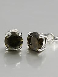 2015 heet de verkoop italië stijl verzilverd oorbellen voor de dame met bruine zirkoon bruiloft& betrokkenheid sieraden