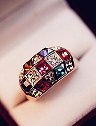 Austrian Colorful Crystal Luxurious Nobility Classic Ring