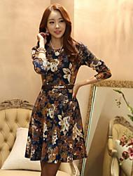 Women's Round Neck Pleated Dress , Knitwear Above Knee Long Sleeve
