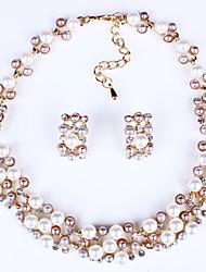 Ensemble de bijoux Perle Imitation de perle Alliage Mariée Mode Blanc Set Quotidien Décontracté 1set Colliers décoratifs Boucles d'oreille