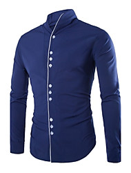 Men's Solid Work Shirt,Polyester Long Sleeve Black / Blue / White