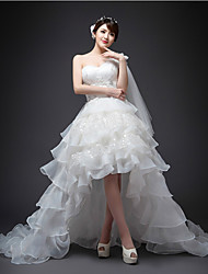 A-line Asymmetrical Wedding Dress - One Shoulder Organza