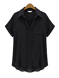 Women's Sexy Casual Cute Plus Sizes Inelastic Short Sleeve Regular Blouse (Chiffon)