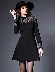 Women's Casual / Lace / Plus Sizes Solid / Patchwork / Lace A Line / Skater Dress , Shirt Collar Above Knee Others / Lace