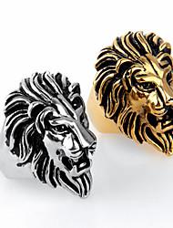 Punk Style Lion Shape Titanium Steel Animal Ring For Men(White,Black,White Gold,Gold)(1Pc)