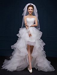 A-line Wedding Dress Asymmetrical Sweetheart Lace with