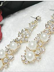 Earring Drop Earrings Jewelry Women Alloy / Imitation Pearl / Cubic Zirconia 2pcs Gold