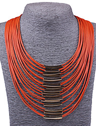 Women Fashion Jewelry Leather Rope Statement Necklace Multi Layer Tassel Punk Colorful Collar Necklace Gold Plated Acceessories