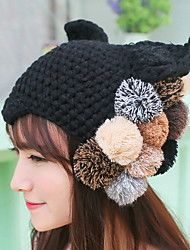 Women Color Ball Knitting Wool Warm Hat