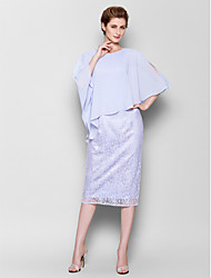 Sheath/Column Plus Sizes / Petite Mother of the Bride Dress - Sky Blue Knee-length 3/4 Length Sleeve Chiffon / Lace