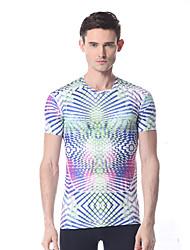 yokaland mens zacht elastisch fitness t-shirt met print