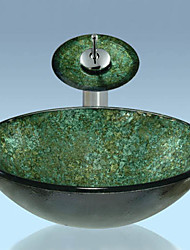 Green Round Tempered Glass Vessel Sink with Waterfall Faucet ,Pop - Up Drain and Mounting Ring