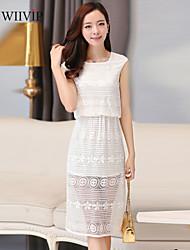 Women's Sexy/Casual Micro-elastic Sleeveless Knee-length Dress (Chiffon/Lace) WP7A14