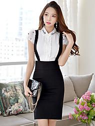 DABUWAWA Women's Bodycon/Work Suspender Sides Split Skirts (Cotton/Polyester/Viscose)