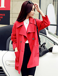 Women's Solid Pink/Red Trench Coat , Casual/Cute/Work Long Sleeve Polyester Button