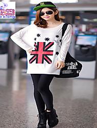 Waboats Women UK Flag Printed Long Sleeve Fashion T Shirt