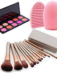 12Pcs Cosmetic Makeup Tool Eyeshadow Blush Foundation Brush Set Box +10Colors Blush Palette+1PCS Brush Cleaning Tool