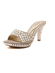 Women's Shoes Kitten Heel Open Toe Sandals Casual Silver/Gold