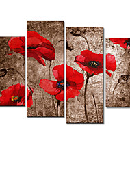 VISUAL STAR®Floral/Botanical Oil Painting Hand-Painted Canvas Wall Art Handmade Oil Painting Four Panels Ready to Hang