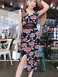 Women's Multi-color Dress , Sexy Sleeveless