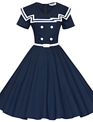 Maggie Tang Women's 50s Vintage Nautical Sailor Rockabilly Hepburn Pinup Business Swing Dress,Plus Size