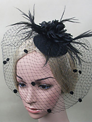 Women Feather/Net Black Flowers Birdcage Veils With Wedding/Party Headpiece