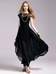 Women's Lace Black Dress , Party/Maxi Round Neck Short Sleeve Pleated