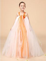 Цветочница платье - Бальное платье Длина до пола Без рукавов Тюль