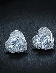 S925 стерлингов серебряные серьги в форме сердца серьги корейский подлинной гипоаллергенный серьга подвеска соответствия