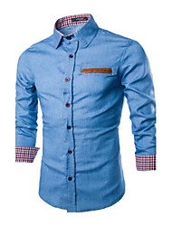 Men's Solid Casual Shirt,Others Long Sleeve