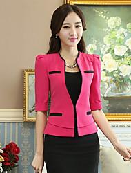 xiw&F Women's Casual/Work/Plus Sizes Slim Solid  ½ Length Sleeve Regular Blazer