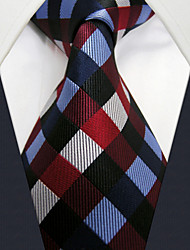 U2 Shlax&Wing Checkered Blue Red Neckties Men Ties Classic Business Long Size