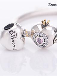 euner® мои Pricess очаровывает 14k золотые короны браслет прелести сердце прелести подходят браслет сыпучих бисера серебро бусины