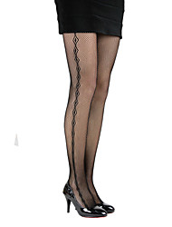 Women's Mesh Outer Diamond Patterned Pantyhose