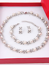 Women's Jewelry Set Stud Earrings Pearl Strands Pearl Necklace Pearl Elegant Costume Jewelry Pearl Imitation Diamond Circle Earrings
