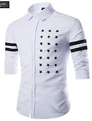JESUNLOM®Man's Shirt Fashion ¾Sleeve Slim Print Shirt Korean Style Young Man Casual Sport Shirt