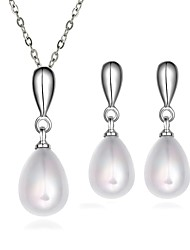 Platinum Plated diamond Water drop colorful pearls jewelry set for women party necklace/earring Bridal Jewelry Sets S060