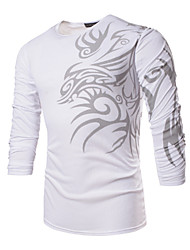 Men's Print Casual / Work / Formal / Sport / Plus Sizes T-Shirt,Polyester / Spandex Long Sleeve-Black / White