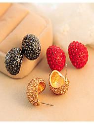 Korean Super Flash  Black Red Gold Shell Casual Cubic Zirconia Stud Earrings